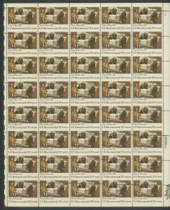#2052 VAR 20c TREATY OF PARIS SHEET OF 40 WITH MAJOR MISPERF ERROR HW5250