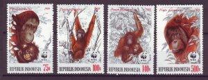 J25090 JLstamps 1989 indonesia set mnh #1380-3 wwf orangutans