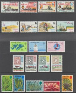 Falkland Islands Sc 237/286 MNH. 1974-1977 issues, 5 complete sets, VF