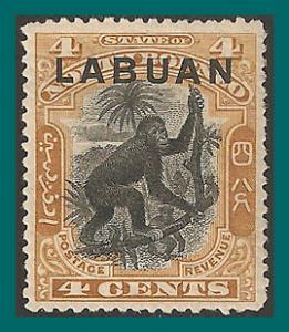 Labuan 1900 Orang-utan, Brown, MNH #96,SG112