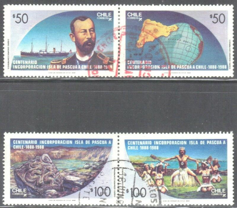 CHILE SC# 791-94 **USED** 1988 50p  ANNEX OF EASTER ISLAND  SEE SCAN