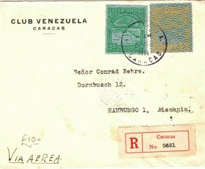 VENEZUELA Cover Caracas Registered Air Mail GERMANY Hamburg via USA 1936 LS101