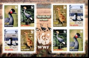 Gambia Birds WWF Black Crowned Crane Imperforated Sheetlet of 2 sets