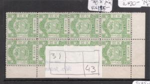 North Borneo SG 43a Plated Block of Eight MOG (1deh)