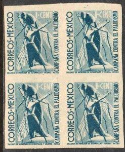MEXICO RA14a, 1¢ Postal Tax. IMPERF BLOCK OF 4 MINT, NH. VF..
