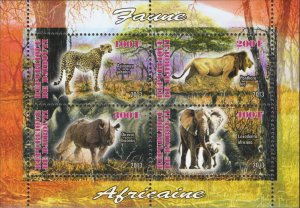 Djibouti Wild Animals Lion Cheetah Rhinoceros Elephant Souv. Sheet of 4 MNH