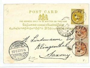 CEYLON Colpetty GERMANY Klingenthal  Stationery {samwells-covers} 1893 CW43