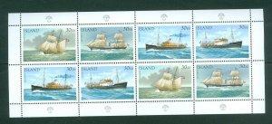 Iceland. 1991 Booklet Panel  8 x 30.00 Kr. Mnh. Post Ships. Sc# 745
