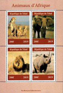 Chad 2019 African Wild Animals Cheetah Elephant Lion Rhino 4v Mint S/S. (#25)