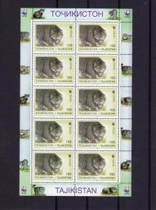 10 x Tajikistan 1996 Sc#92/97  WWF Pallas Cats 6 Sheetlets  (60v) perforated