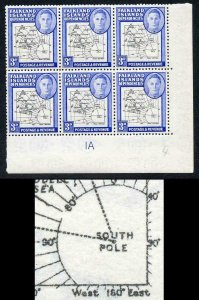 Falkland Is Deps SG G4 3d Gap 8th Parallel and Break by 90o U/M Plate Block