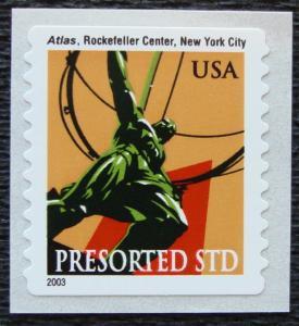 US #3770 MNH COIL Single Atlas Statue SCV $.25