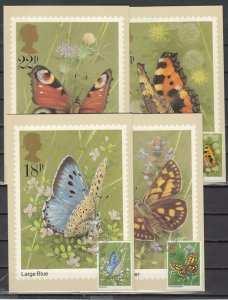 Great Britain, Scott cat. 941-944. Butterflies issue as 4 Max. Cards. ^