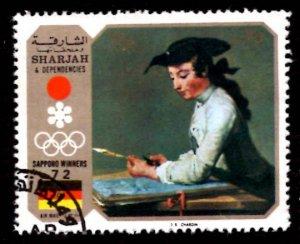 Sharjah 35DH J. Siméon Chardin Olympic Games Flag Paintings Sapporo 1972 MI....