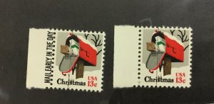 1730  Christmas Mailbox 13c 1977 Vertical Ink smear Error 2 stamps