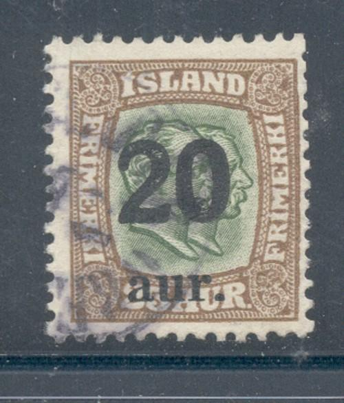 Iceland Sc 133 192120 a ovpt on 25 a2 Kings stamp used