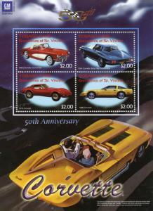 Tobago Cays Grenadines St Vincent 2003 MNH Chevrolet Corvette 4v M/S Cars Stamps