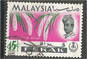 PERAK, 1965, used 15c, Orchid,lScott 144