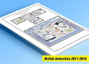 COLOR PRINTED BRITISH ANTARCTIC 2011-2016 STAMP ALBUM PAGES (23 illustr. pages)