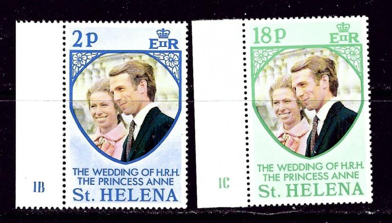 St Helena 277-78 NH 1973 Princess Anne Wedding