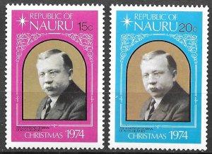 Nauru Christmas, Rev. P.A. Delaporte set of 1974, Scott 118-119 MNH