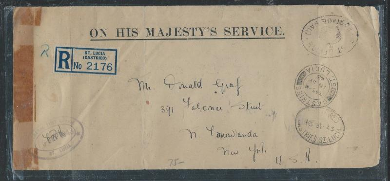 ST LUCIA (P0112B) 1943 OHMS STAMPLESS REG TO USA