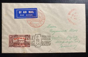 1934 Brighton England Rocket Mail Experimental Flight Cover to BerlinGermany