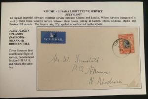 1937 Uplands Kenya First Flight Cover FFC To Nkana Northern Rhodesia