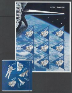 Sweden Sc 2621, 2621g, MNH. 2009 First Swede in Space, Block of 5, Sheet of 9