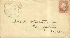 US Sc#65 Cover Westminster VT Postal History