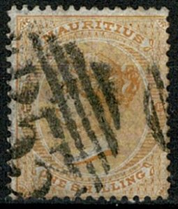 MAURITIUS QV 1863-72 1/- ORANGE VERY FINE USED SG70 Wmk.CROWN CC VGC