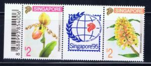 Singapore 686a NH 1994 Flowers pair with label