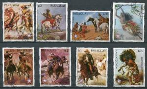 PARAGUAY 1976 HORSE PAINTINGS - NUDE COMPLETE SET OF 8!