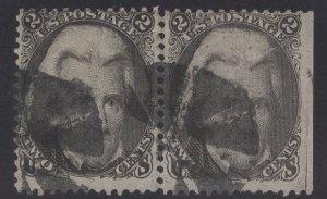 US Stamp Scott #73 2c Black Jackson PAIR USED SSCV $120