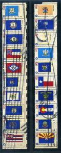 Two Bicentennial Postally Used Strips of 10