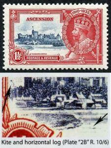 Ascension SG31I 1935 Silver Jubilee 1 1/2d with Kite and Log Variety M/M