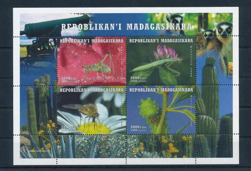 [38809] Madagascar 1999 Insects Insekten Insectes Cactus MNH Sheet