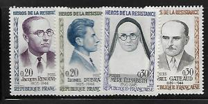 FRANCE 990-993 MNH C/SET PORTRAITS OF HEROES OF 1957