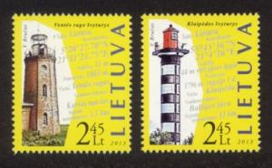 Lithuania Sc# 1007-8 MNH Lighthouses 2013