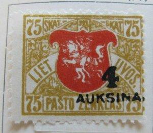 A11P5F23 Litauen Lituanie Lithuania 1922 moved surch 4auk on 75sk MH*