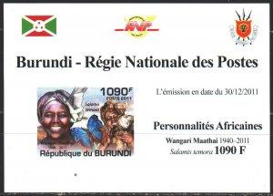 Burundi. 2011. black impression. Maathai, Nobel Peace Prize Laureate. MNH.
