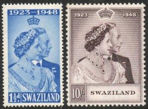 SWAZILAND-1948 Royal Silver Wedding Set Sg 46-47 UNMOUNTED MINT V37551