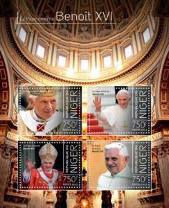 Niger-2013 Pope Benedict Emeritus  XVI  4 Stamp Sheet 14A-292
