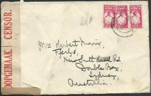 SOUTH AFRICA 1944 1d Nurse Bantams (3) on censor cover to Australia........59170