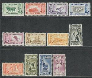 $Falkland Islands Sc#107-118 M/H, part set, missing 119+120, Cv. $130.40