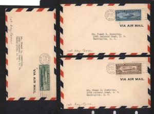 USA #C13 - #C15 XF Used Zeppelins On 1st Day Covers