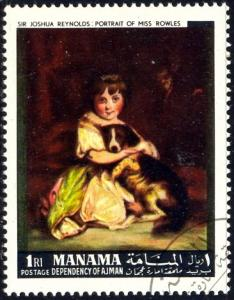 Painting, Portrait of Miss Rowles, by Reymold, Manama used