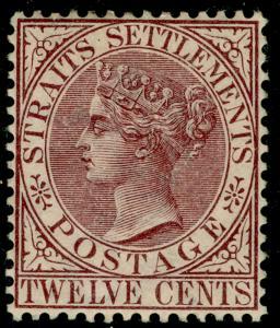 MALAYSIA - Straits Settlements SG67, 12c brown-purple, M MINT. Cat £85.