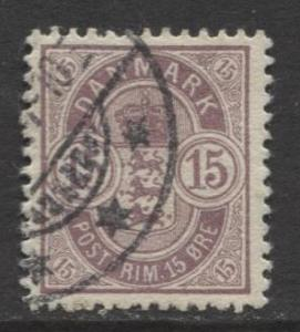 Denmark - Scott 54 - Definitive Issue -1902 - Used - Single 15o Stamp