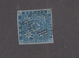 NOVA SCOTIA # 2 3d BLUE IMPERF CAT VALUE $300 (NVS33)